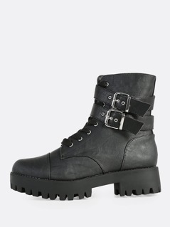 Patent Lace Up Boots BLACK