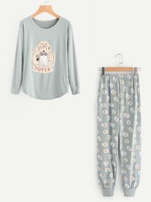 Graphic Patch Tee And Purse Print Pants Pajama Set
