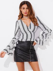 Layered Frill Sleeve Surplice Wrap Top
