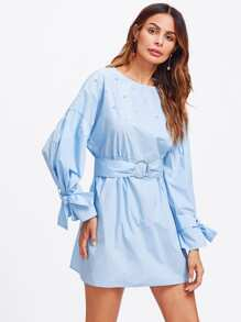 O-Ring Belted Tied Cuff Pearl Embellished Dress