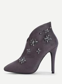 Rhinestone Flower Embellished Heeled Boots