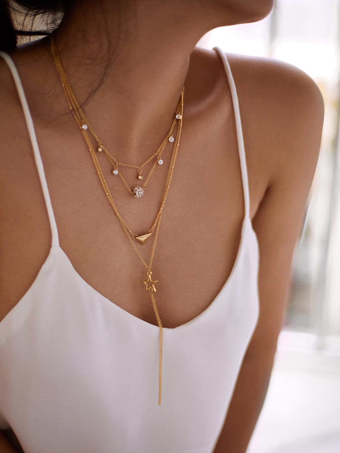 Star & Triangle Pendant Layered Chain Necklace triangle fringed paillette pendant necklace