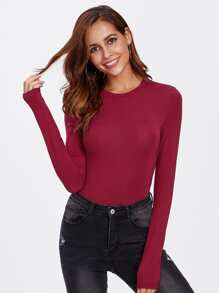 Solid Long Sleeve Tee Bodysuit