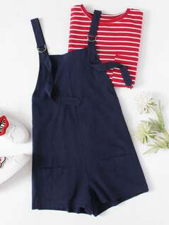 Pocket Front D-Ring Adjustable Strap Overalls