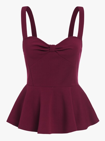 Knot Sweetheart Front Peplum Cami Top