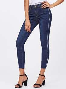 Ungesäumte Schmale Jeans