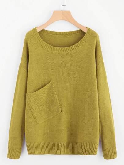 Drop Shoulder Pocket Front Sweater