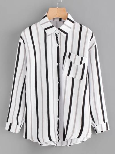 Vertical Striped Shirt With Pocket