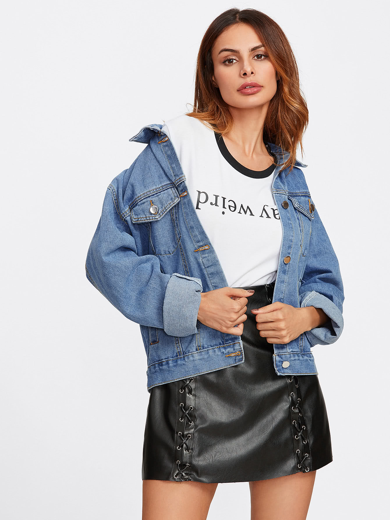 Drop Shoulder Denim Jacket letter print drop shoulder denim jacket