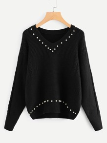 Pearl Beading Cable Knit Ribbed Sweater