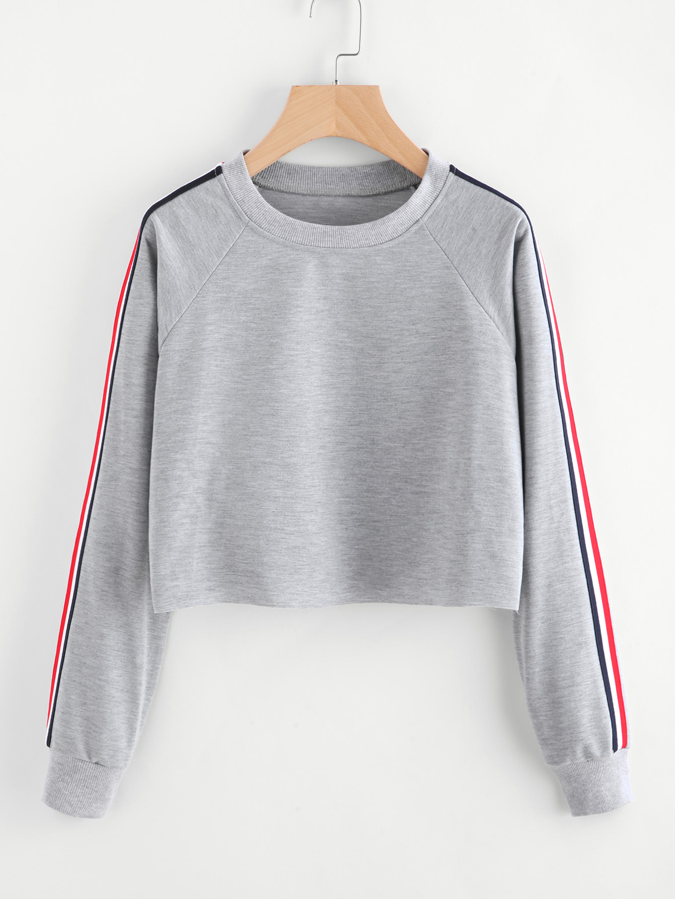 Stripe Tape Detail Raw Hem Crop Marled Pullover tape detail drop shoulder marled sweatshirt