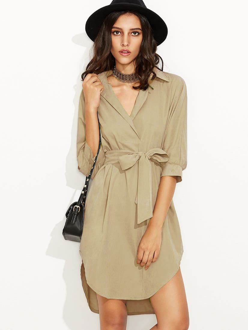 Curved Hem Self Tie Shirt Dress self tie neck cuffded sleeves curved hem blouse
