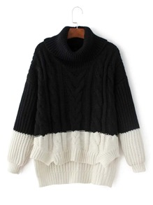 Two Tone High Low Cable Knit Sweater