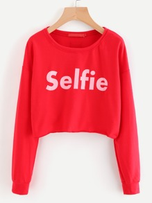 Letter Print Crop Pullover