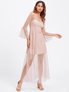 Trumpet Sleeve Dot Mesh Overlay Dress