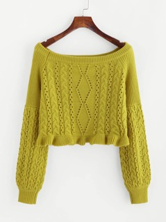 Eyelet Mixed Knit Bardot Jumper