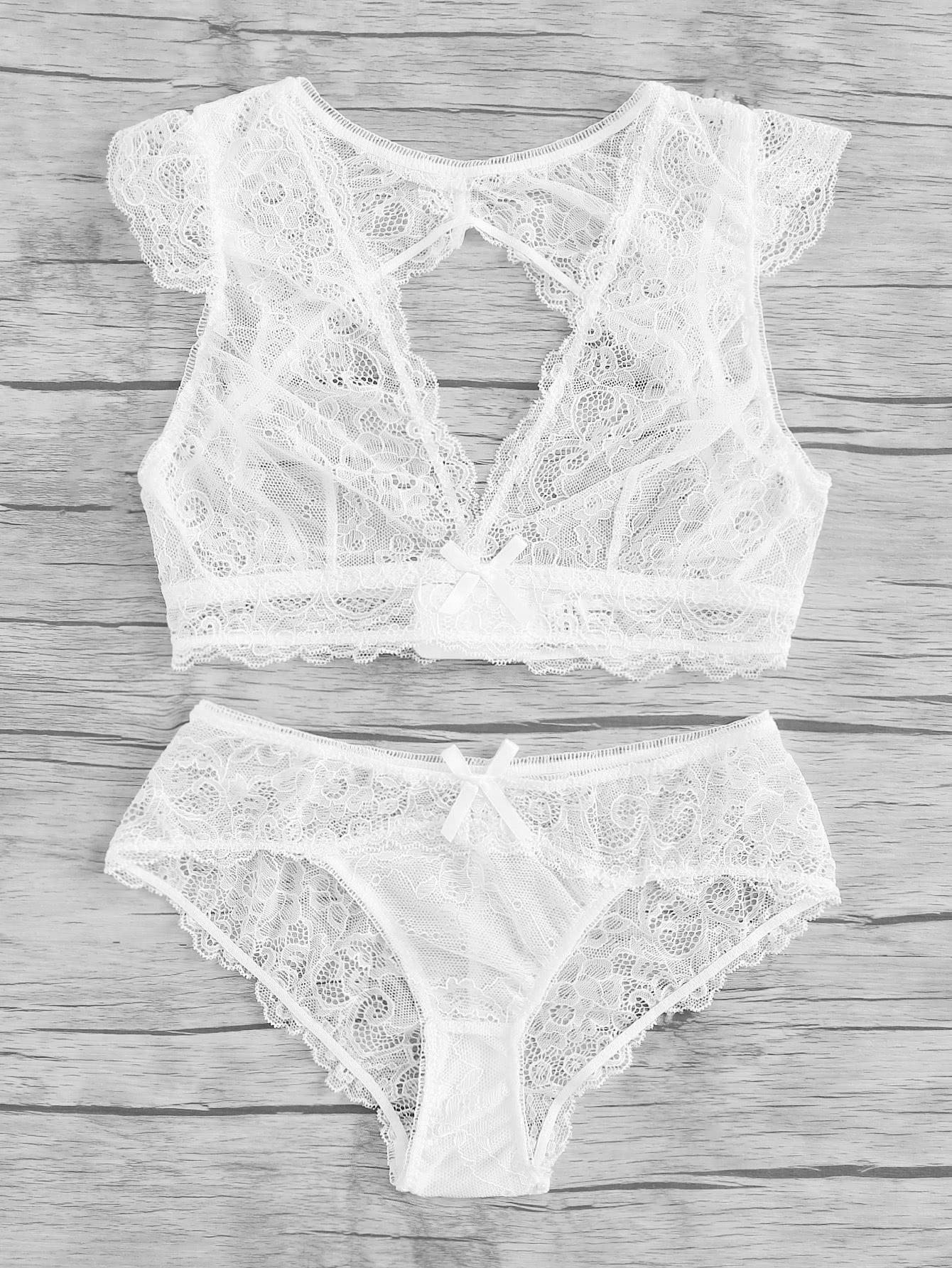 Open Back V Plunge Lace Lingerie Set plunge neckline open back bikini set