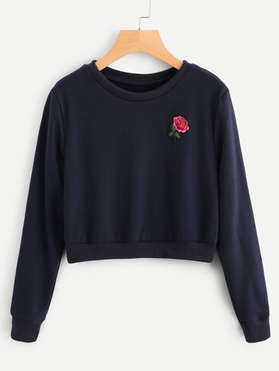 Sweat-shirt brodé rose
