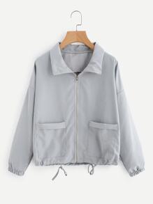 Zip Up Drawstring Hem Dual Pockets Jacket