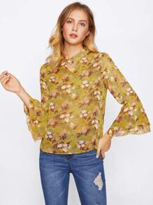 Choker Neck Layered Bell Sleeve Pearl Embellished Top