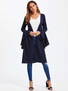 Scallop Bell Cuff Open Front Duster Coat
