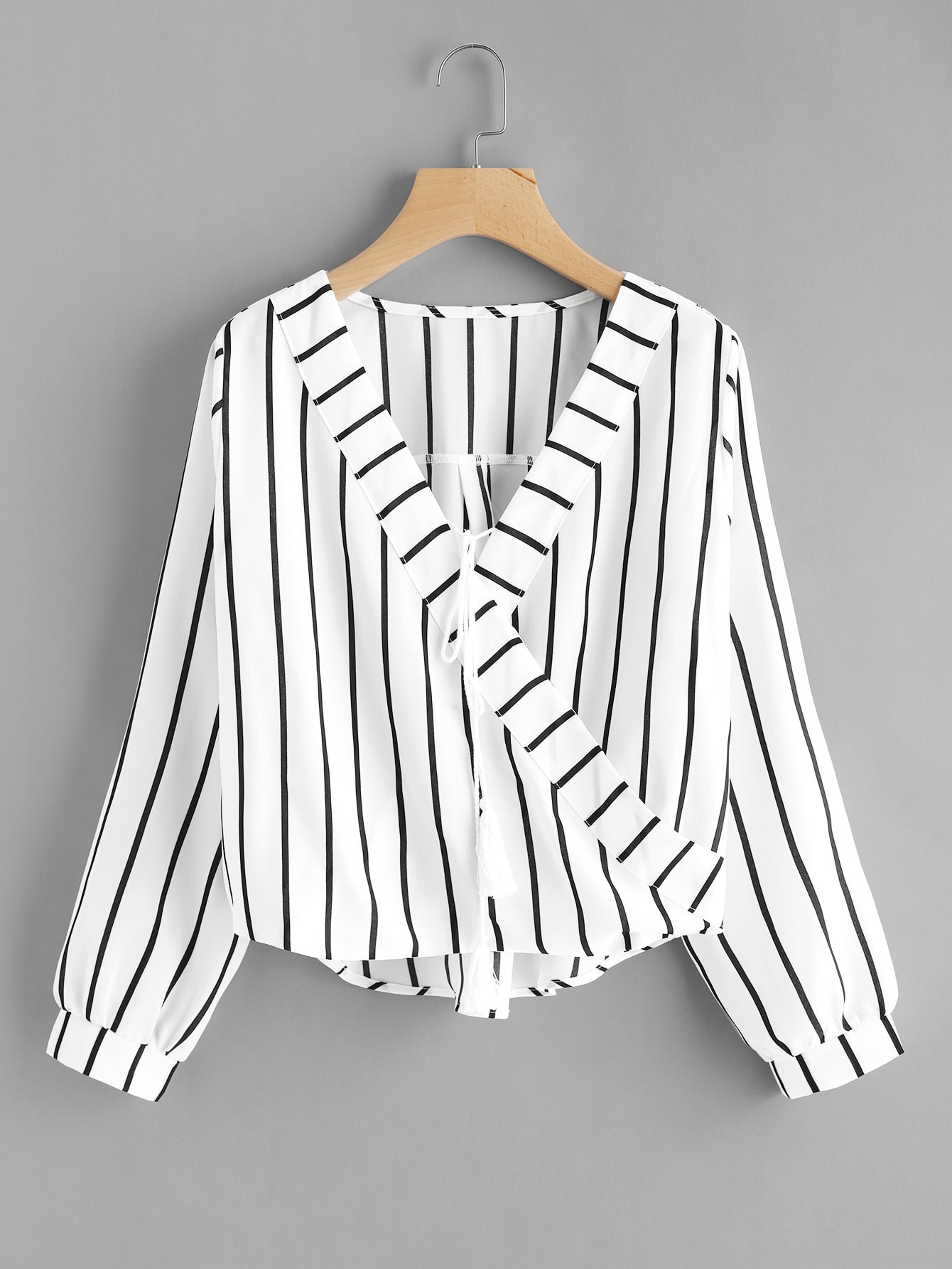 Contrast Striped Surplice Neckline Tassel Tie Blouse tassel tie striped blouse