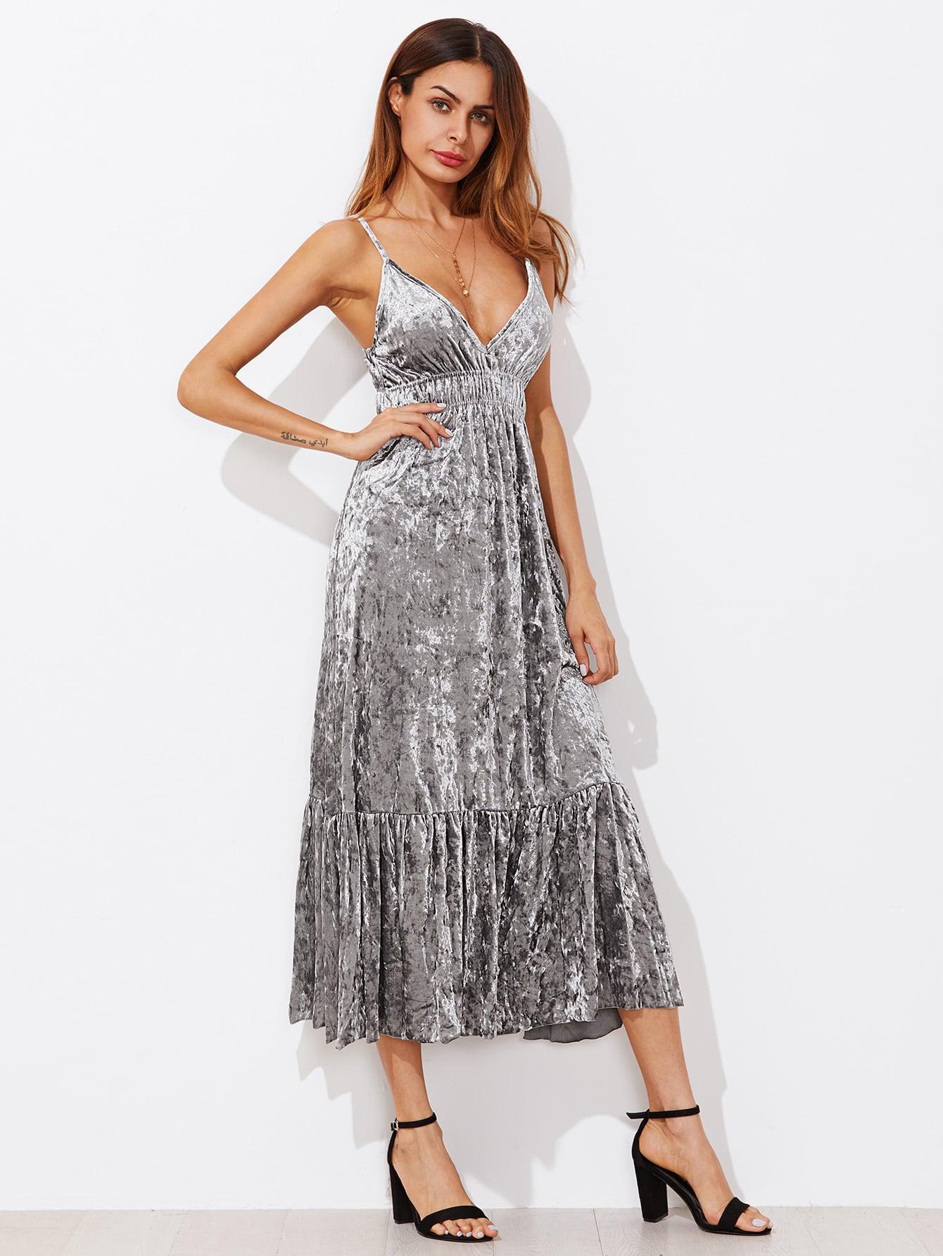 Shirred Waist Ruff Hem Velvet Cami Dress cami velvet casual maxi dress