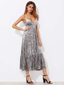 Shirred Waist Ruff Hem Velvet Cami Dress