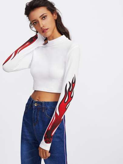 High Neck Flame Print Crop Tee
