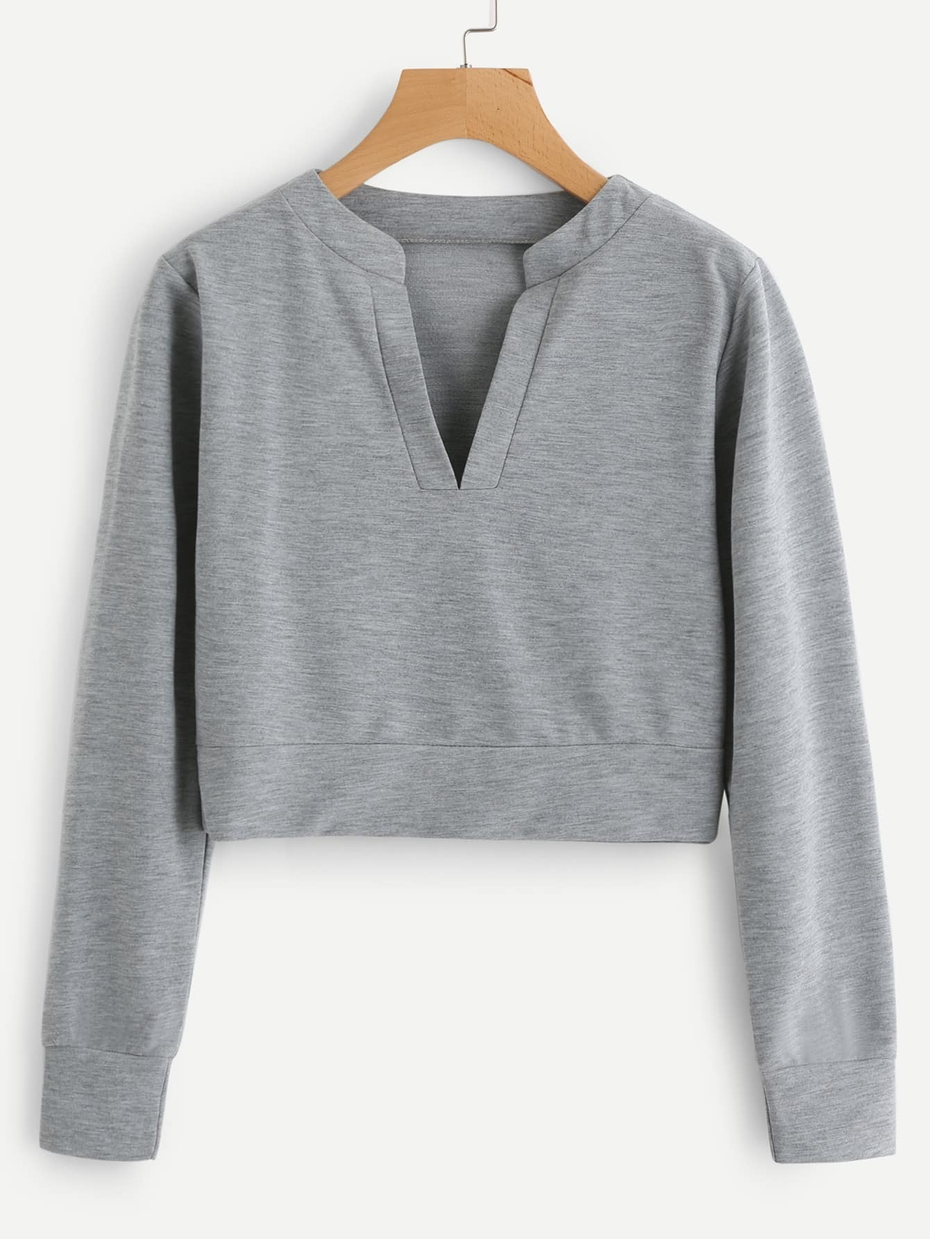 V Neckline Slub Sweatshirt v neckline drop shoulder lantern sleeve sweatshirt