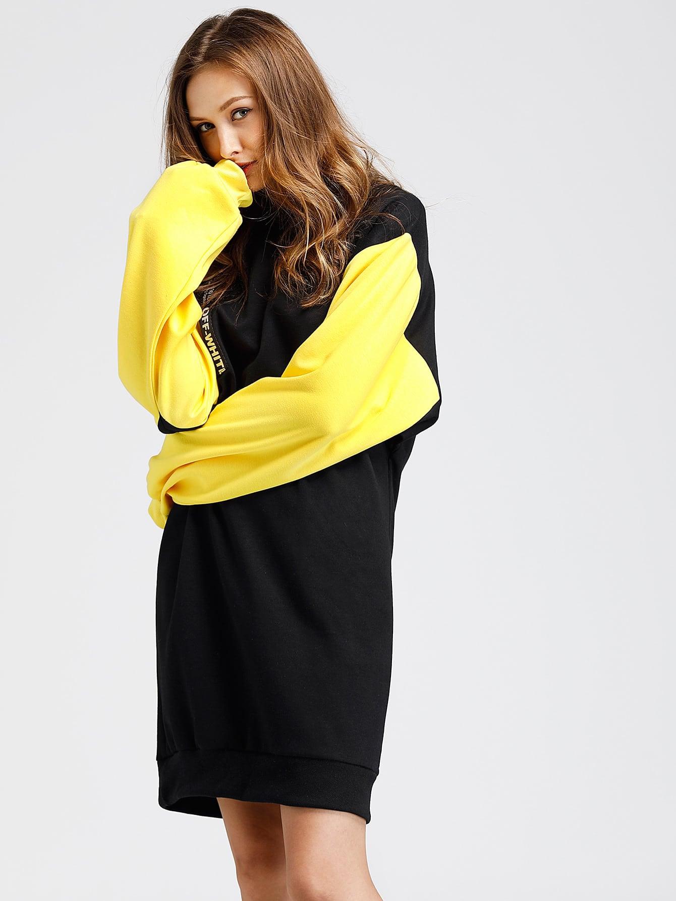 Contrast Sleeve Strap Detail Sweatshirt Dress frill sleeve tape detail sweatshirt
