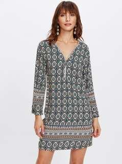 Zip Neckline Ornate Print Tunic Dress
