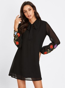 Bow Tie Neck Flower Embroidered Dress