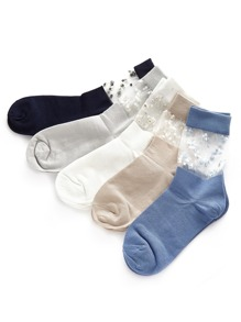 Embroidery Detail Mesh Insert Socks 5pairs