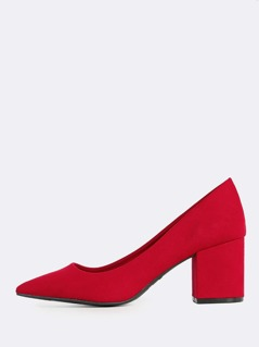 Faux Suede Point Toe Block Heels RED