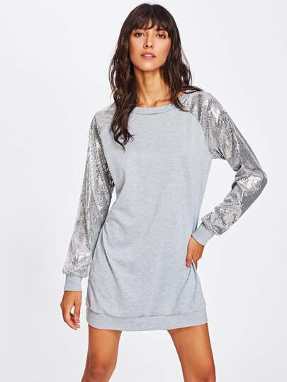 Contrast Sequin Sleeve Sweatshirt Dress