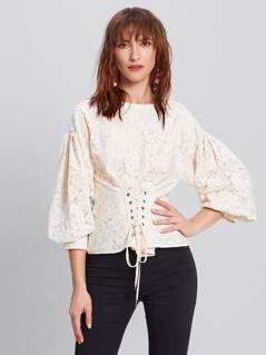 Lace Up Corset Detail Bishop Sleeve Top