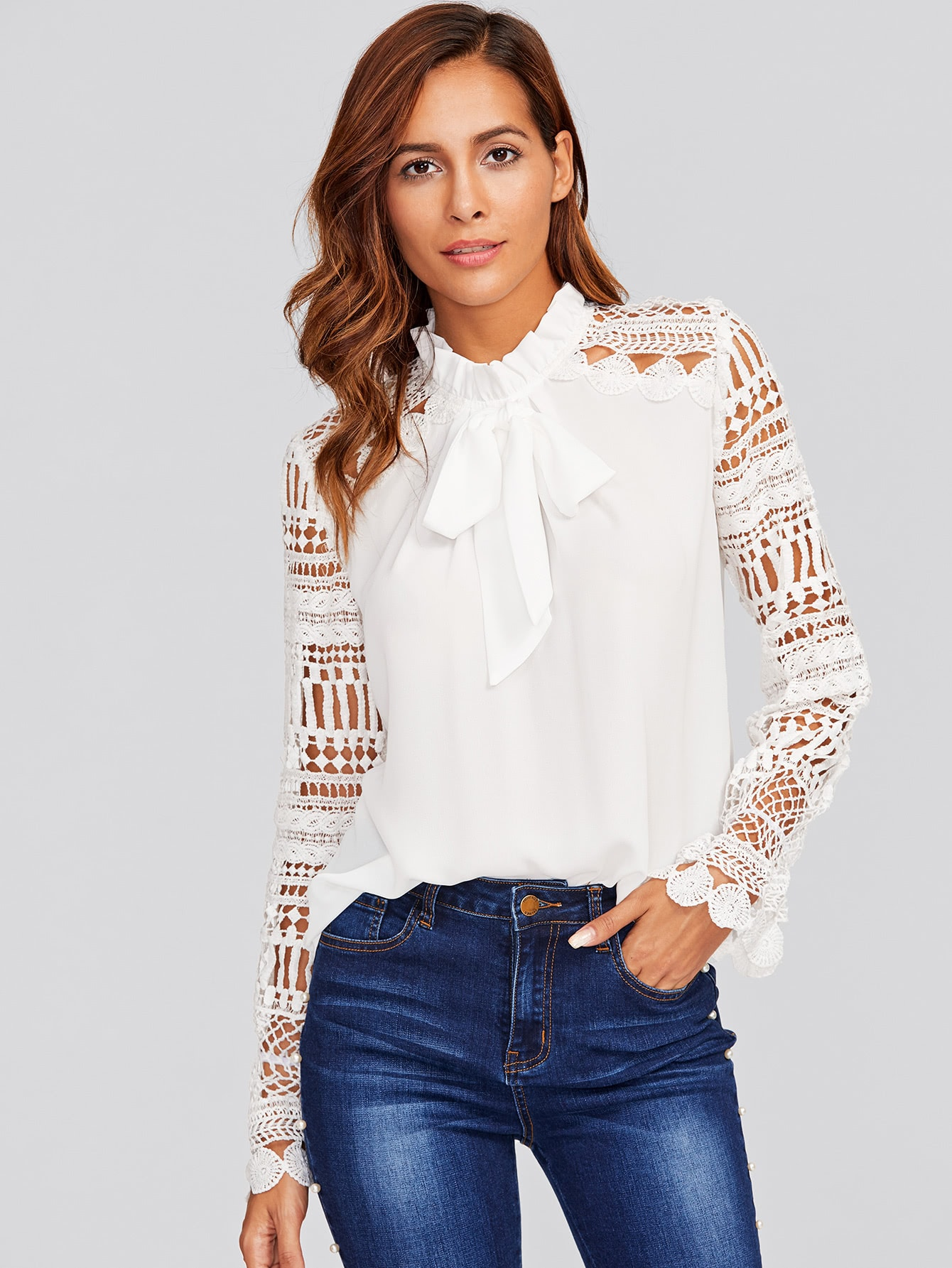Купить Модная блуза с бантом и кружевной вставкой, Giulia, SheIn