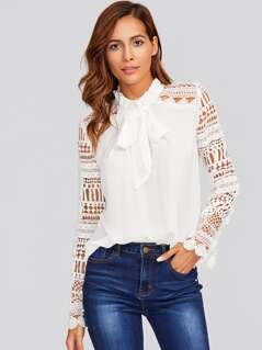 Frilled Tie Neck Guipure Lace Sleeve Top