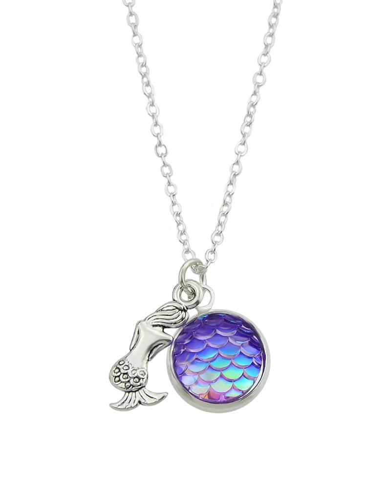 Purple Color Cute Simple Colorful Multicolored Fish Necklace