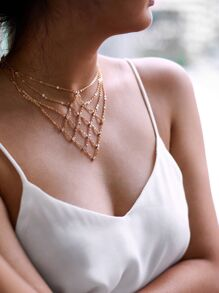 Rhinestone Decorated Geometric Chain Necklace