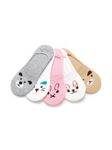 Animal Print Invisible Socks 5pairs