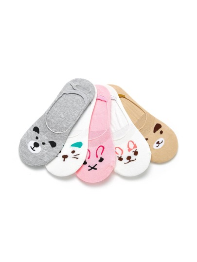 Animal Print Invisible Socks 5pairs