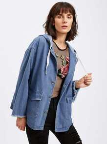 Frayed Hem Drop Shoulder Denim Jacket