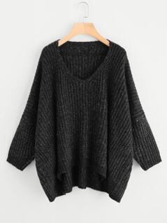 Drop Shoulder Dip Hem Oversize Jumper