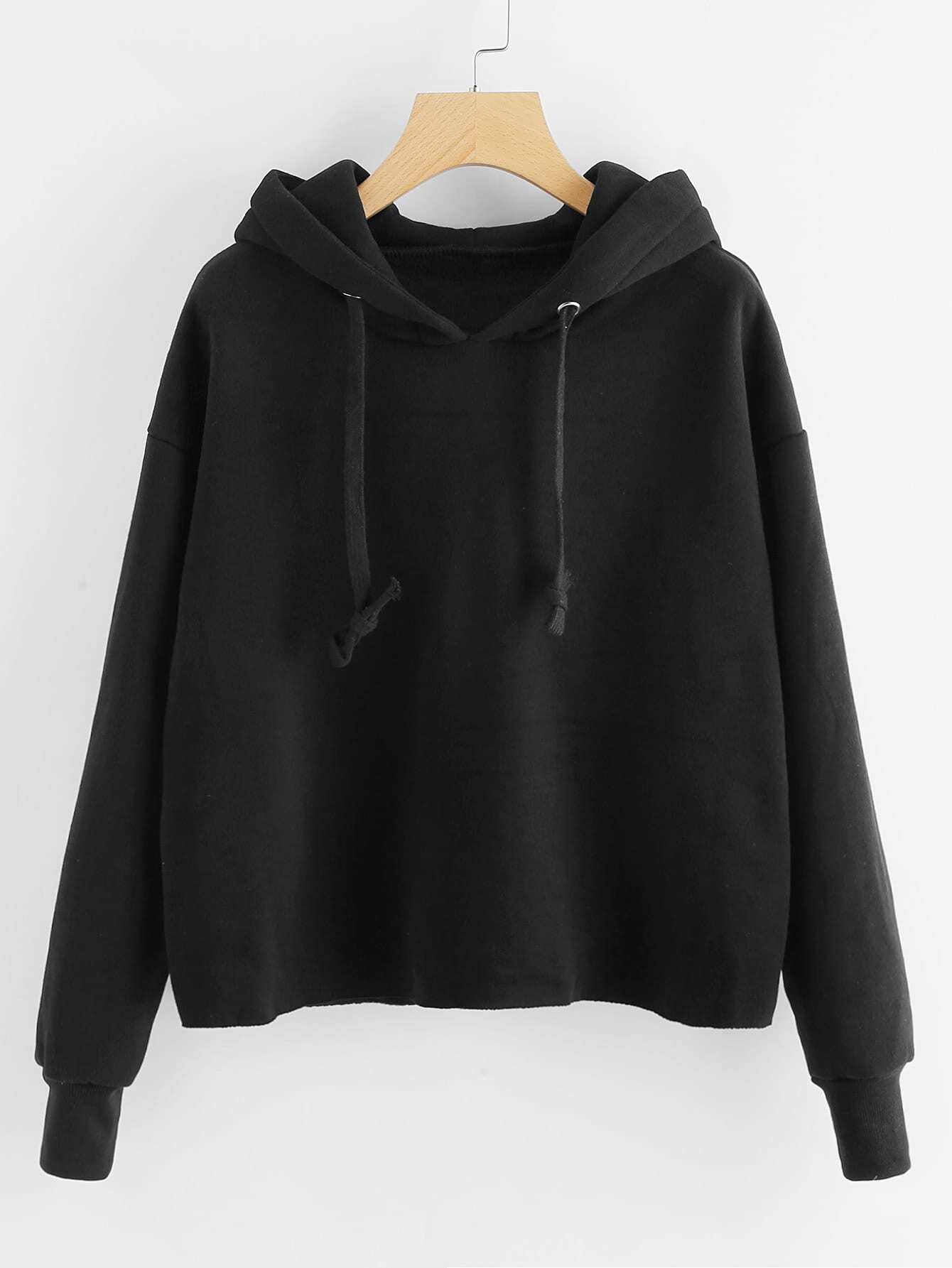 Drop Shoulder Raw Hem Hoodie 10699