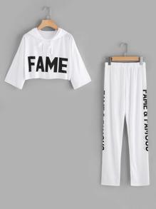 Capucha corta estampada de letras con pantalones
