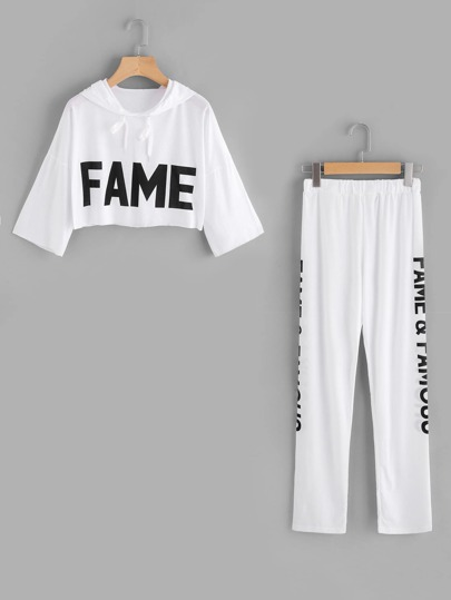 Letter Print Crop Hoodie And Pants Set