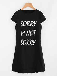 Slogan Print Crochet Hem Tee Dress