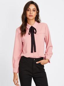 Bow Tie Neckline Shirt
